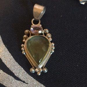 Crystal pendant amethyst & citrine (?) necklace